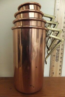 Arts and Crafts copper stacking baking  cup measures. one cup, half cup-