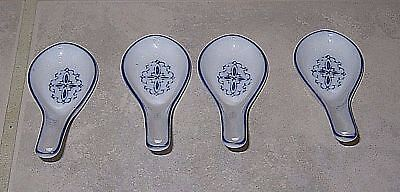 Wonderful Set of 4 Chinese Blue & White Porcelain Soup Spoons-Mint Condition