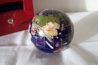 Gemstone Lapis Blue World Globe Paperweight Desk Top Boxed