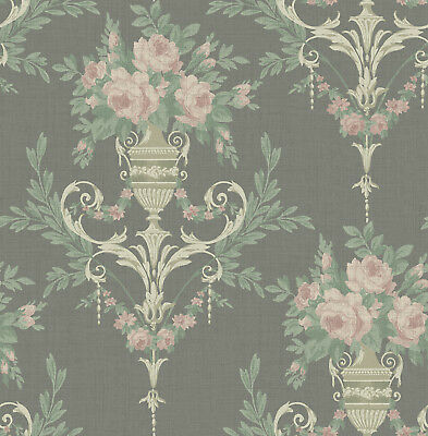 Neoclassical Floral Wallpaper Black Gold and Pink in Victorian Arts and Crafts