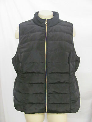 Chico's Women's Black Quilted Vest w/ Gold Tone Zipper & Pull, Size 2 NWT