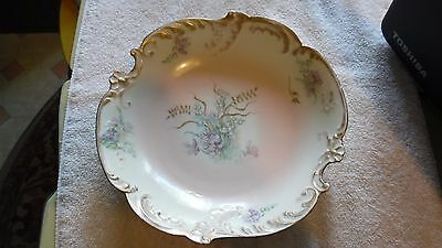 "Old Vintage Antique 9 1/2"" Limoges Bowl with Red and Green Marks"
