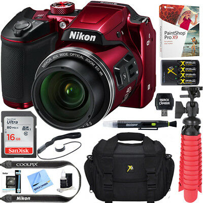 Nikon COOLPIX B500 16MP 40x Zoom Wi-Fi Digital Camera (Red) 16GB 12 Pcs Bundle