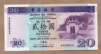 Macau - Banco Da China - 20 Patacas - 1.9.1996 - P91 - Uncirculated