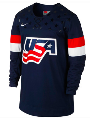f0411ef5a0e NEW Official Nike USA National hockey Team USA IIHF Twill Replica Navy  Jersey