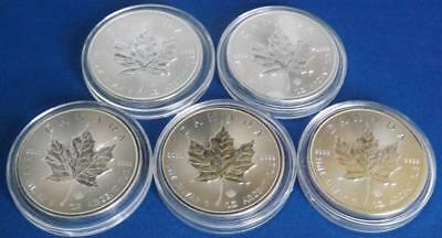 5 x 2014 Canada $5 Silver Maple Leaf 1oz .9999 Silver Coin Royal Canadian Mint