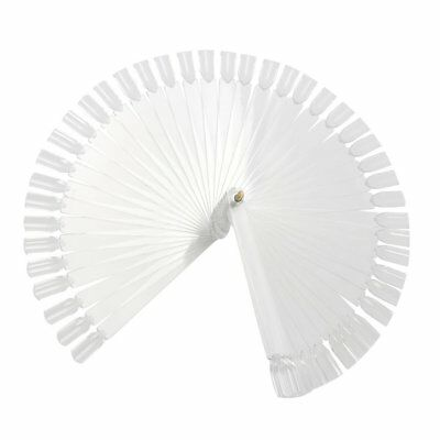 TRIXES 50 False Nail Art Tips Sticks Display Fan Board Polish Practice White
