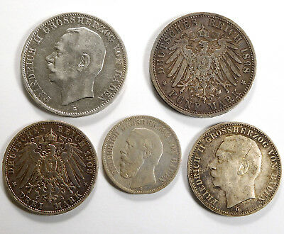 1876 - 1911 German States Baden Silver Coin Lot - 5 Coins Total