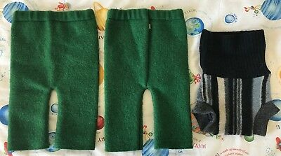 Lot of 3 unused upcycled wool baby soakers longies briefs small diaper covers