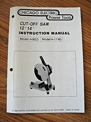 """CHICAGO Electric Mod.Nos. 923 & 1140 12"""" & 14"""" CUT-OFF Saws - INSTRUCTION MANUAL"""