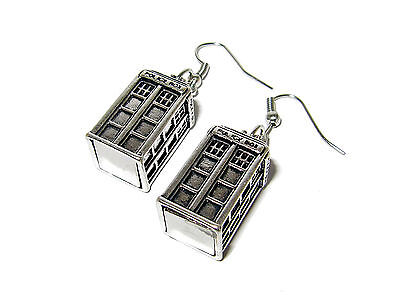 Doctor Who Tardis Police Box 3D Earrings Silver Plated Whovian Jewelry Quality!!