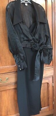 Black Formal Evening Gown with Sheer Jacket Size 14.  Holiday/Christmas Dress
