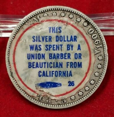 1900-O Sticker Advertising California Union Barber/Beautician Morgan Dollar