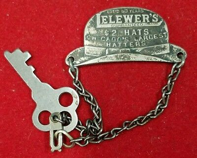 Hat Shaped D. Lelewer & Son Chicago, Ill Advertising Charge Coin/Key Fob/Token
