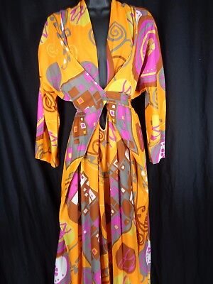 Vtg 1960s Palazzo Hostess Jumpsuit Psychedelic Hollywood Vasserette Mod Hippie