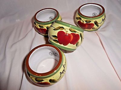 Set Of 4 Apple Orchard Collection Home Interior Green Red Ceramic Napkin Rings