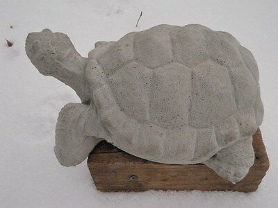 "Vintage Awesome Large Cement 12"" Turtle Garden Art Statue Weathered Concrete"