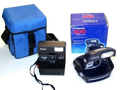 Lot of 2 Polaroid One Step Express Film Cameras W/ Case Untested VG