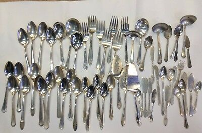 Antique - Vintage Silver Plated Flatware Lot Of 60 Serving Pieces / Craft Lot
