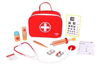 Tooky Toy - Little Doctor Play Set - Wooden Toys in Medical Kit Doctor's Carry B