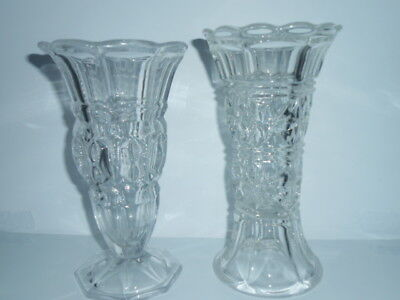 Vintage Pressed Glass Heavy Vase ( Pair )  / Perfect Conditions - See Photos