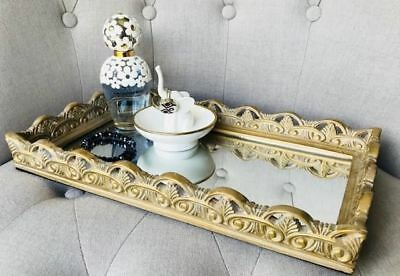 Gold Wooden/Wood Rectangle Platter/Tray/Mirror Coffee/Table/Bathroom/Console