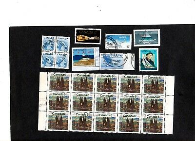 Canada, Block Of 15, Block Of 4 And 6 Single= 25 Fine Used Stamps Good Condition