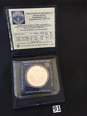 """1992 44th ANNIVERSARY """"THE LAW OF ISRAEL"""" PROOF 28.8g SILVER COIN CASE+COA"""