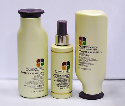 Pureology Perfect 4 Platinum Shampoo Conditioner Miracle Filler Treatment 3 PACK