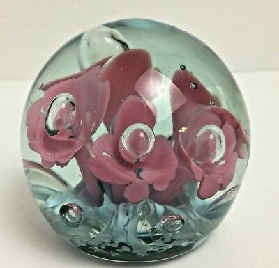 VINTAGE ANTIQUE GLASS PAPERWEIGHT Clear BLUE FLOWERS Controlled BUBBLES Pink