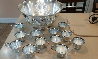 International Silver Co Victorian Silverplate Punch Bowl With Ladle And 12 Cups