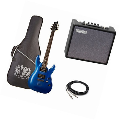 C-1 SGR by Schecter Beginner Electric Guitar Amp Bundle- Electric Blue