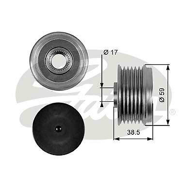 Overrunning Alternator Pulley fits MAZDA 6 GH 2.2D 08 to 13 Clutch INA Quality