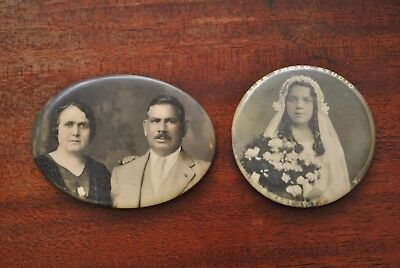 Two 1920s Antique Photo Pocket Mirrors Confirmation Couple