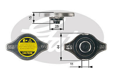 Radiator Cap fits DAEWOO CIELO 1.5 94 to 98 V15L Gates Top Quality Replacement