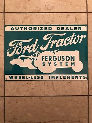 Vintage Porcelain Dealer Ferguson System Ford Tractor Gas Oil Sign! Nice!