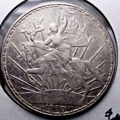 1910 Mexico Peso, Caballito .903 Silver Circulated Coin