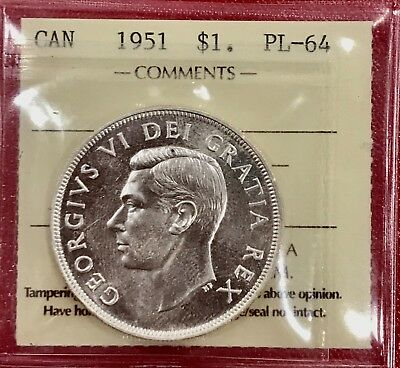1951 Canada 1 Dollar Silver Coin One Dollar - ICCS PL-64