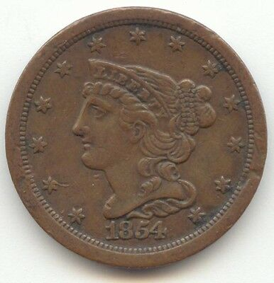 1854 Braided Hair Half Cent, XF