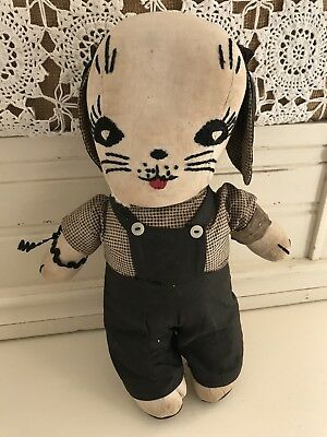 Mid-Century Hand Sewn Vintage Puppy Dog Doll Antique Gingham Embroidered Doll