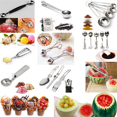 Kitchen Stainless Steel Ice Cream Scoop Spoon Fruit Coffee measuring Cups Tools