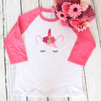 Toddler Kids Baby Girls Long Sleeve Unicorn T-shirt Top Tees Outfits Clothes USA