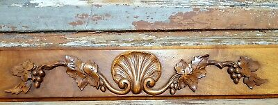 HAND CARVED WOOD PEDIMENT ANTIQUE FRENCH SHELL GRAPPES ARCHITECTURAL SALVAGE b