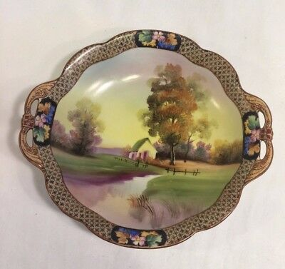 Japanese Ornate Hand Painted Nippon Serving Plate, House/Tree Scene