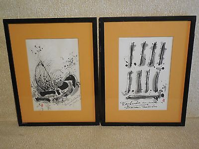 Henri Johann RADELOFF - Pair of Original Japanese Style Modernist Ink Paintings