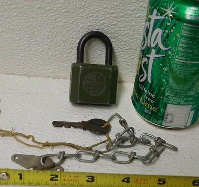 Antique The Yale Towne Mfg Co Junior Padlock With Chain Key Green Black Vtg