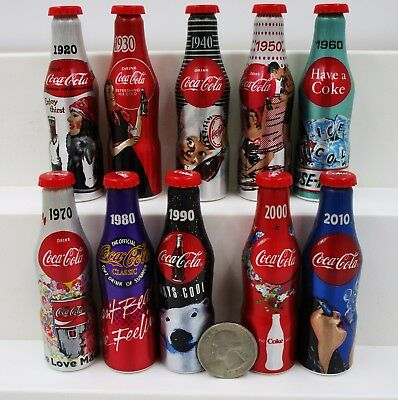 "* Set of 10 Miniature 3"" Coca Cola Mini Aluminum Bottles 2015 100th Anniversary"