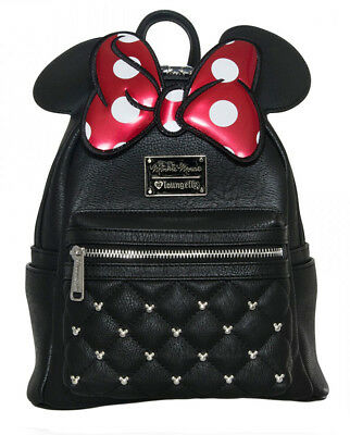Loungefly Disney Minnie Mouse Red Bow Ears Mickey Studded Mini Backpack Purse