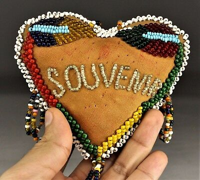 Antique Native American Iroquois Indian Beaded Pin Cushion Beadwork 1900's