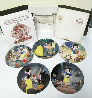 Disney Snow White Fine China Collector Plate Set Lot of 5 Edwin Knowles 1988